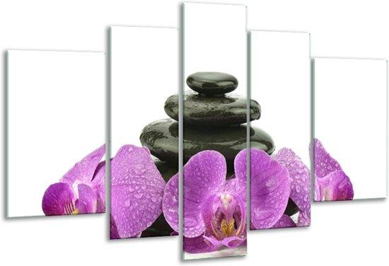 Glasschilderij Orchidee   Paars, Zwart, Wit   170x100cm 5Luik   Foto print op Glas    F005797