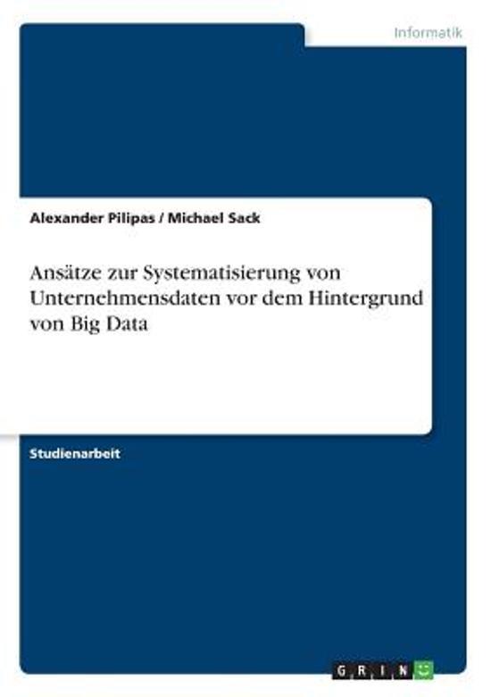 Ans tze Zur Systematisierung Von Unternehmensdaten VOR Dem Hintergrund Von Big Data