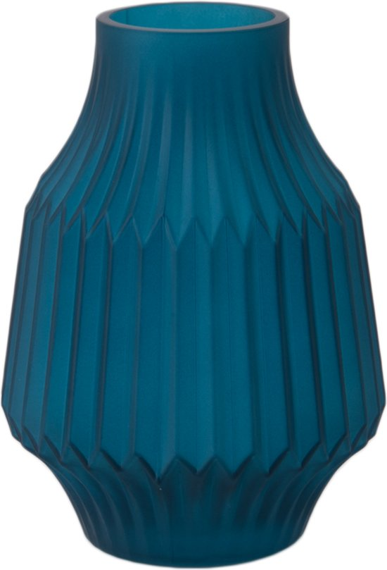 Vase Stripes glass matt medium blue