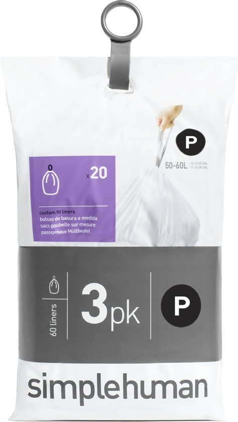 Simplehuman Afvalzak Code P Pocket Liners 50-60 Liter (60 stuks)