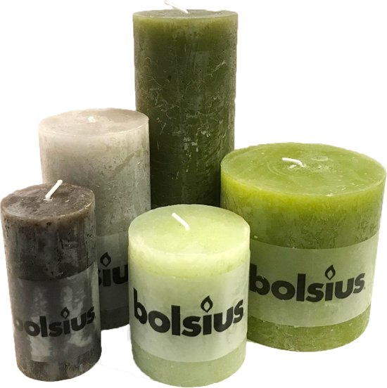 Groene Kaarsen Bolsius.Bolsius Rustiek Stompkaars Set Groen Mix