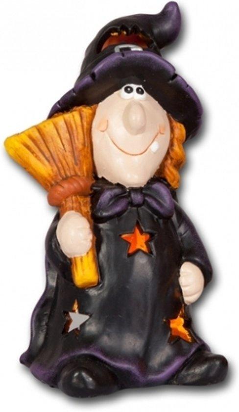 Waxinelichthouder Halloween.Halloween Waxinelichthouder Heks Met Bezem 21 Cm Halloween Decoratie