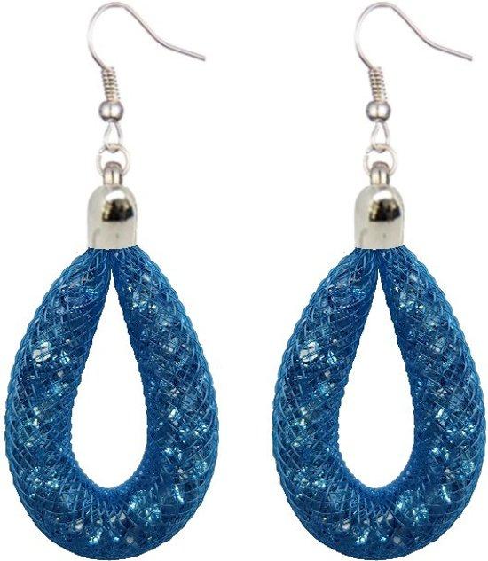 Fako Bijoux® - Oorbellen - Sterrenstof Druppel Mini - Royal Blauw