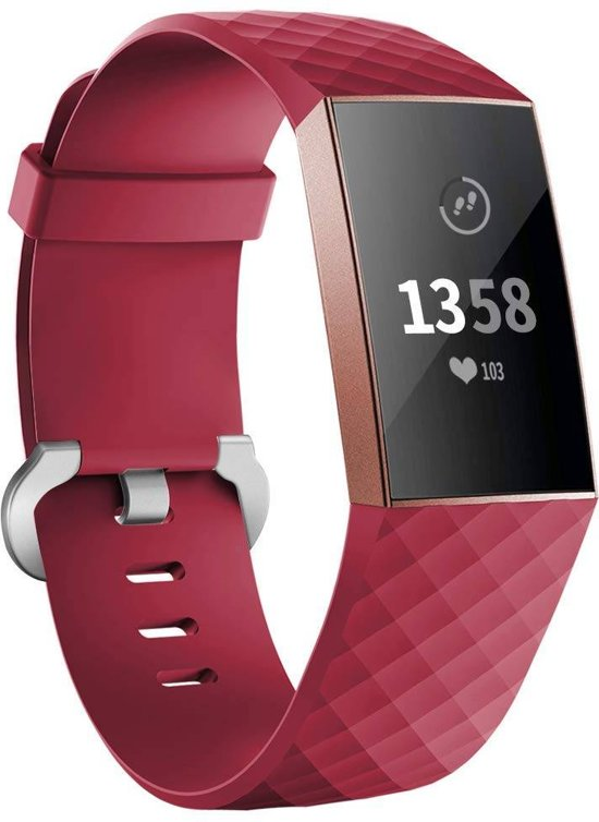 123Watches.nl Fitbit charge 3 sport wafel band - rood - ML
