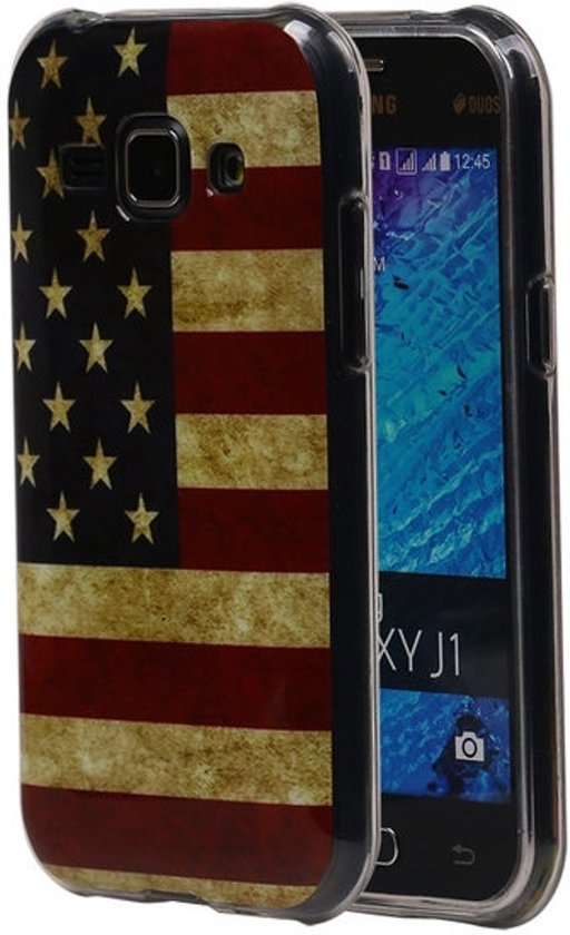 bol | amerikaanse vlag tpu cover case voor samsung galaxy j1 hoesje