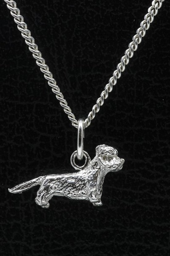 Zilveren Dandie dinmont terrier ketting hanger - klein
