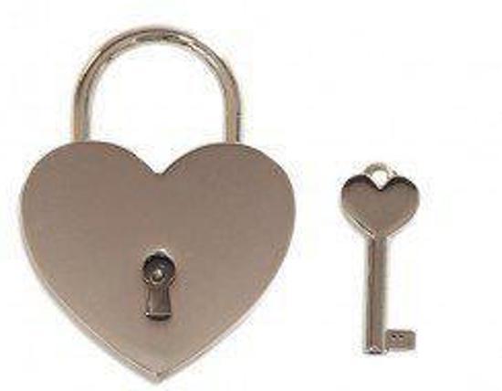 Zilver Hartjes Liefdesslot Groot met Sleutel