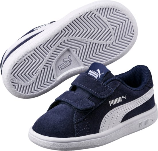 01f2ba2080a PUMA Smash V2 Sd V Ps Sneakers Kinderen Peacoat / Puma White - Maat 29