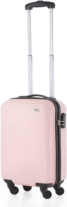 TravelZ Horizon Handbagagekoffer - 54cm Handbagage Trolley met gevoerde binnenkant - Roze
