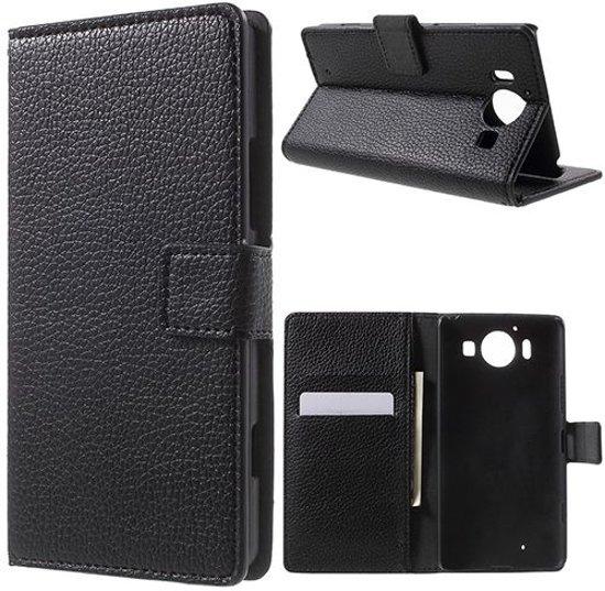 Microsoft Lumia 950 Litchi Leather Wallet Case Zwart in Ittre