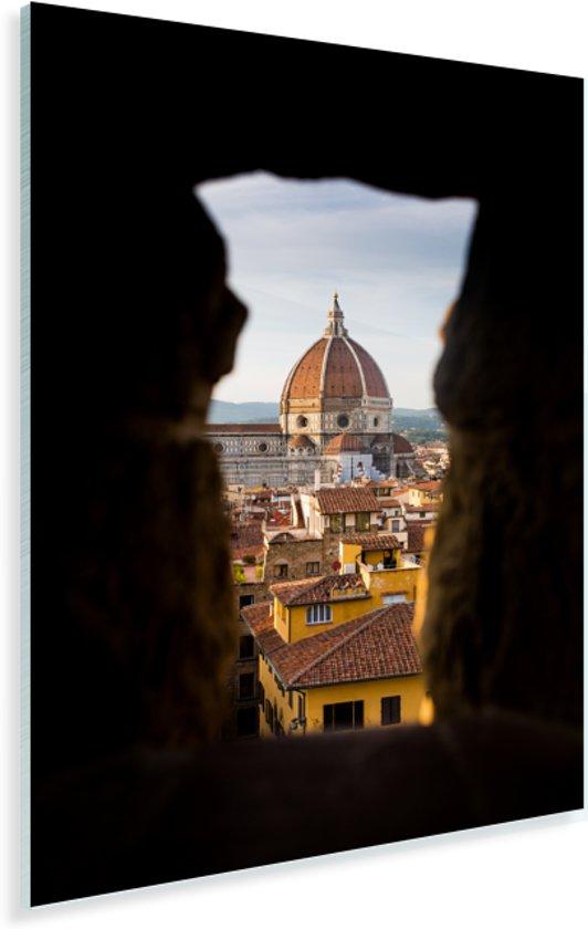 De Dom van Florence door een gat van een oude muur in Florence Plexiglas 120x180 cm - Foto print op Glas (Plexiglas wanddecoratie) XXL / Groot formaat!