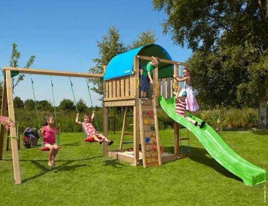 Jungle Gym – Villa 2-Swing - Speelcombinatie Schommelset - Met Glijbaan - Groen