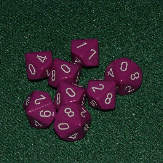 Afbeelding van het spel 10 Vlakken Tienzijdige Dobbelstenen Licht Paars met Wit 16mm Set van 6 Stuks