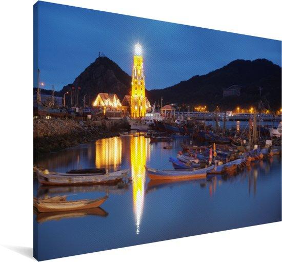 Avondfoto van de haven in Dalian Canvas 90x60 cm - Foto print op Canvas schilderij (Wanddecoratie woonkamer / slaapkamer) / Aziatische steden Canvas Schilderijen