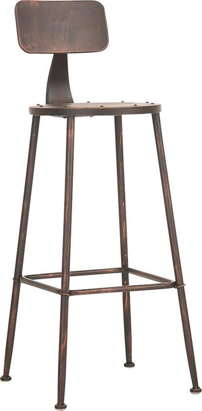Clp Barkruk SOHO barstoel - industrial look industry, rond metalen zitvlak, met rugleuning - bronskleur
