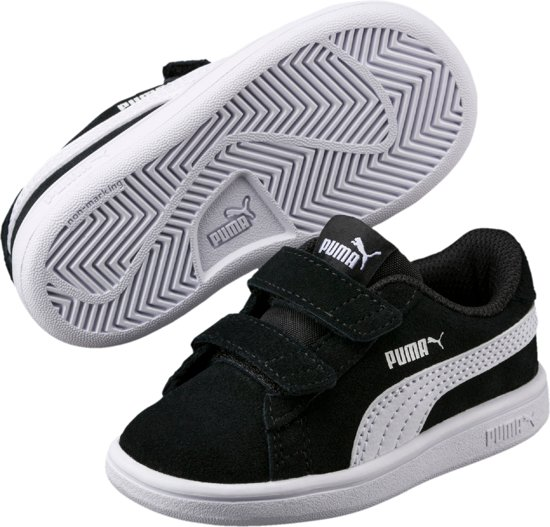 PUMA Smash V2 Sd V Inf Sneakers Kinderen - Puma Black / Puma White - Maat 24