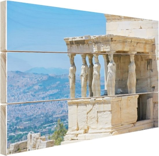 Close-up van de Akropolis Hout 160x120 cm - Foto print op Hout (Wanddecoratie) XXL / Groot formaat!