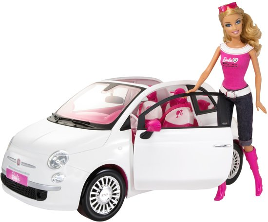 bol.com  Barbie met Fiat 500 - Barbie Auto - Wit,Mattel