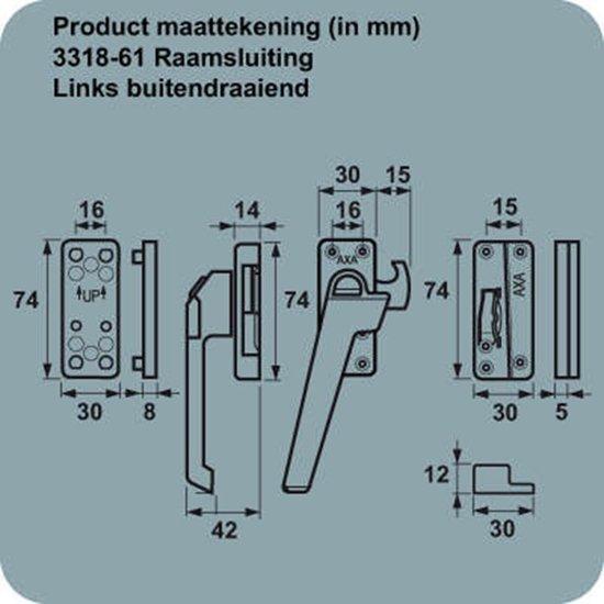 AXA 3318 Raamsluiting - 3318-61-92/E - draairichting 3-  Aluminium F2