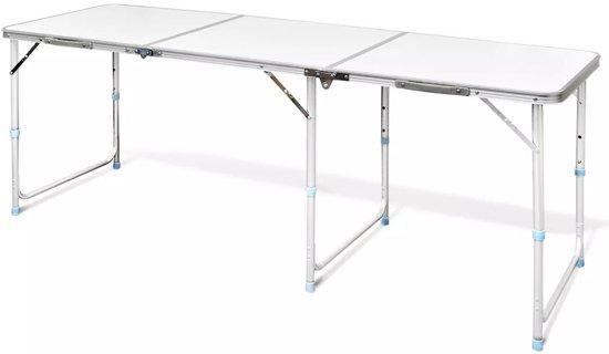 Camping Tafel Verstelbaar.Vidaxl Campingtafel Inklapbaar En Verstelbaar In Hoogte Aluminium 180 X 60 Cm