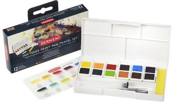 Derwent Inktense Paint Pan Travel Set 12 kleuren DIB2302636