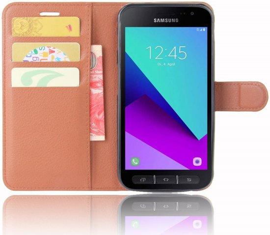 Samsung Galaxy Xcover 4 Lychee Leren Portemonnee Hoesje Bruin in Ens