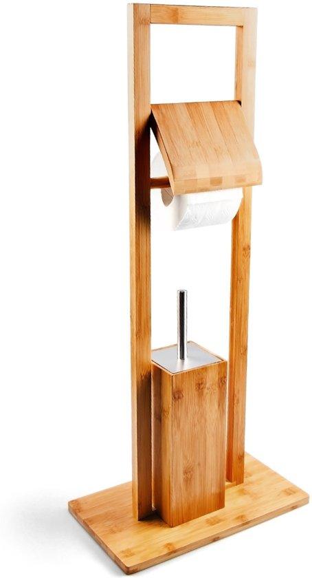 Wc Borstel En Toiletrolhouder.Relaxdays Vrijstaande Toiletaccessoireset Bamboe Toiletrolhouder Wc Borstel Lichtbruin