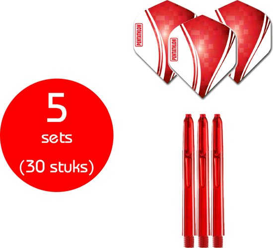 Dragon Darts - 5 sets (30 stuks) - Duo-combi Pentawave - darts shafts - inclusief - darts flights - rood