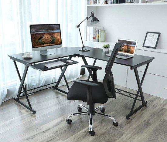 Onwijs bol.com | MIRA - Groot L-vormig bureau met metalen frame HY-16