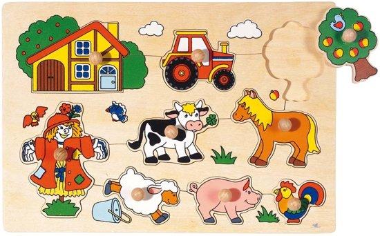 Afbeelding van Goki 9-delige houten puzzel boerderij speelgoed