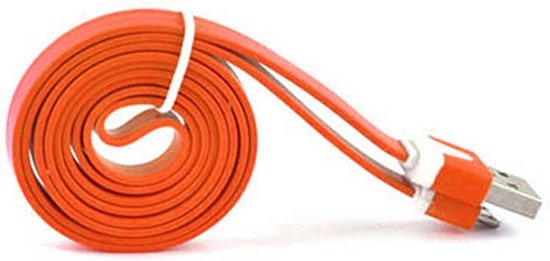 Platte Datakabel Lightning 2 meter Oranje voor Apple iPhone, iPod, iPad