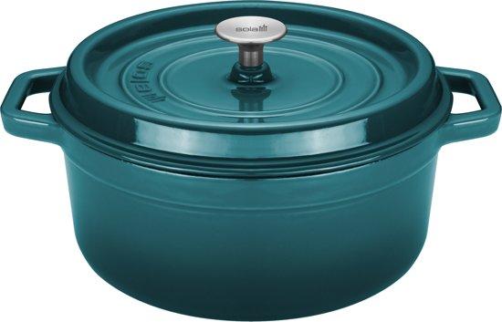 Sola Braadpan - Gietijzer - Blauw/Groen - Met deksel - Ø24 cm