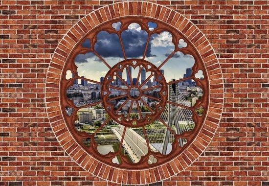 Fotobehang Brick Wall City Skyline | M - 104cm x 70.5cm | 130g/m2 Vlies