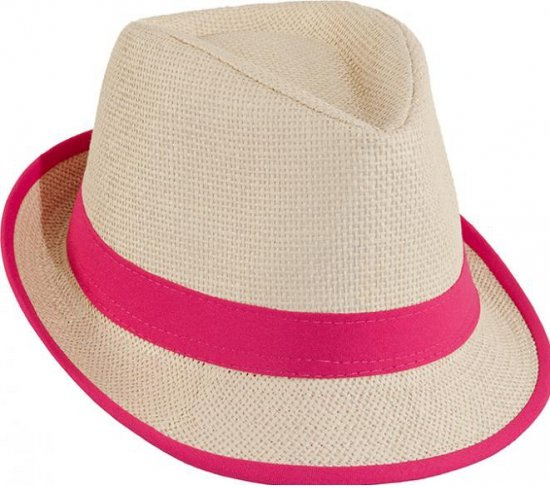 Toppers Trilby stro hoedje roze