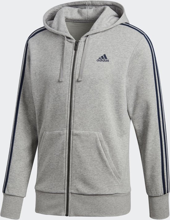 adidas Essentials 3Stripes Full Zip Hoodie Heren Medium Grey Heather
