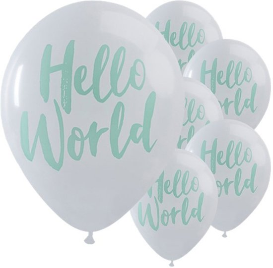 Ginger Ray Hello World babyshower ballon Ø 28 cm - Wit & mint - Set-10 Valentinaa