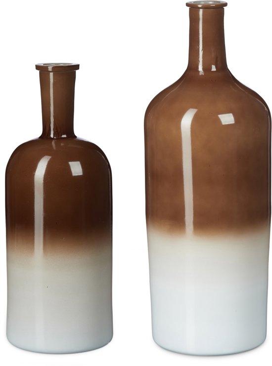 relaxdays - decoratieve fles met kleurverloop - vaas - bloemenvaas retro - tafel