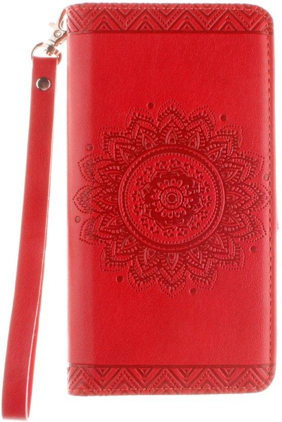 Shop4 - Huawei Ascend P8 Lite Hoesje - Wallet Case Vintage Mandala Rood in Lent