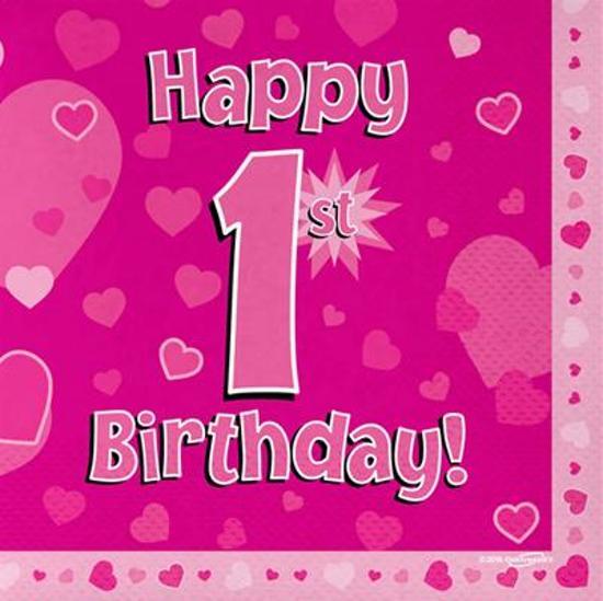 happy birthday 1 jaar bol.| 1 jaar versiering meisje: servetten happy 1st birthday  happy birthday 1 jaar