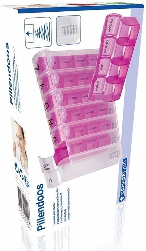 Grote 7 Dagen Pillendoos.Pillen Sorteer Doos 7 Dagen Roze Pillendoos