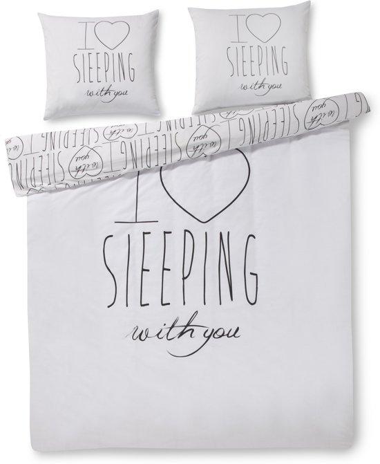 Zzzacht Slapen met jou - dekbedovertrek - eenpersoons - 140 x 200/220 - Wit