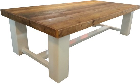 8 Persoons Tafel : Bol tafel whitewood persoons eettafel bruin wit