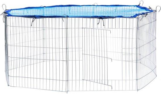 TecTake - Konijnenkooi met veiligheidsnet Ø 145cm blauw - 402393