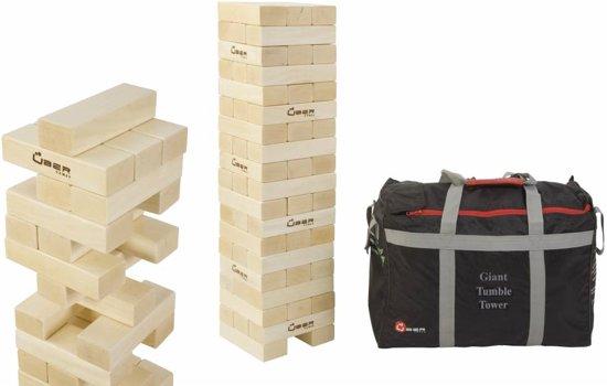 Giga Stapeltorenspel  (Grenenhout), tot 150 cm hoog, ECO hout, in stevige transsporttas. Omvaltoren spel, Blokkenspel voor buiten