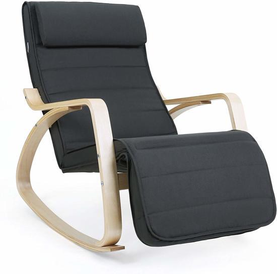 Vouwstoel 150 Kg.Schommelstoel Met Verstelbare Voetsteun Zweedse Relax Stoel Tot 150 Kg Donkergrijs