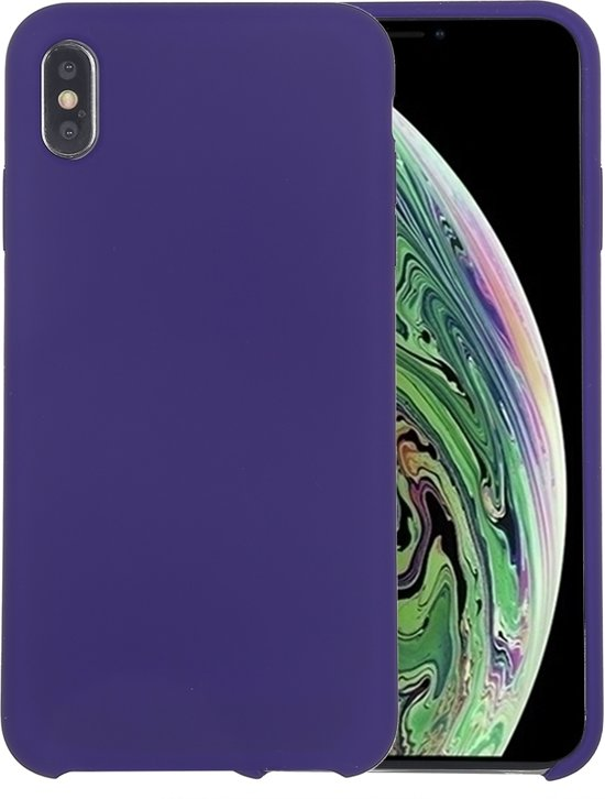 Mobigear Liquid Silicone Donker Paars iPhone Xs Max