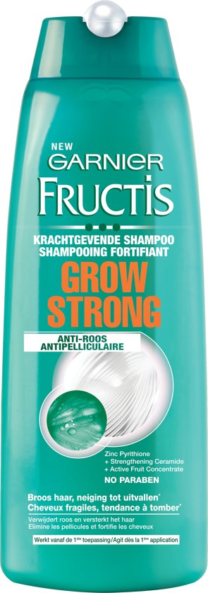 Garnier Fructis Grow Strong - Shampoo 250ml - Broos Haar, Met Neiging Tot Roos