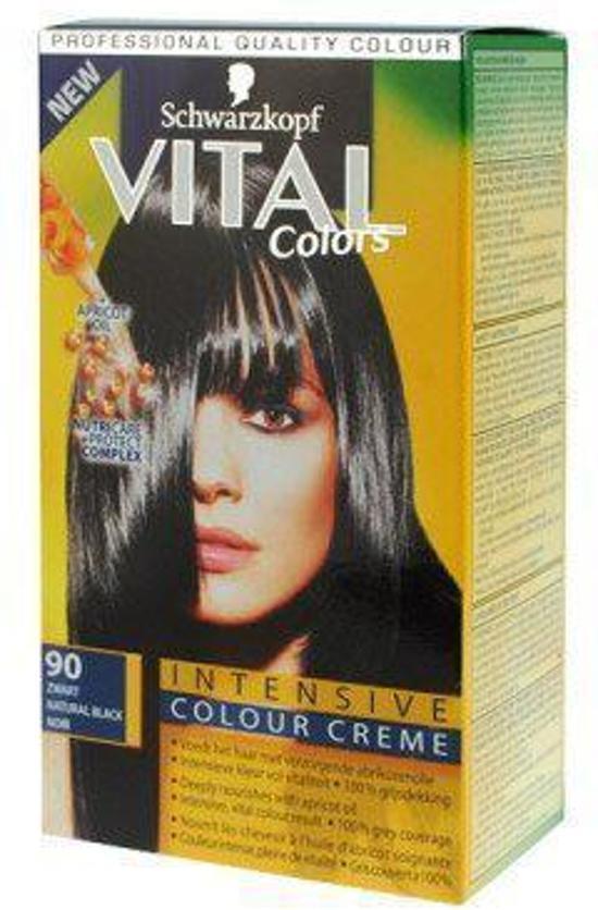 3x Schwarzkopf Vital Colors 90 Zwart - Haarverf - Voordeel Pakket