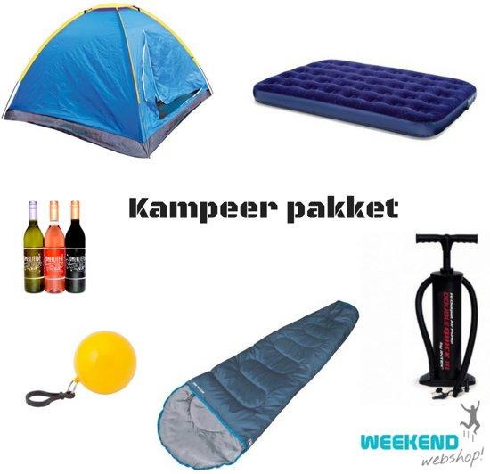 Kampeer Pakket | Camping pakket | Luchtbed | Slaapzak | pomp | poncho | zomerliefde | festival |