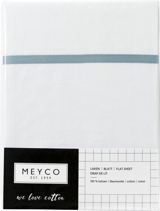 Meyco ledikantlaken wit met bies - 100 x 150 cm - Stone green